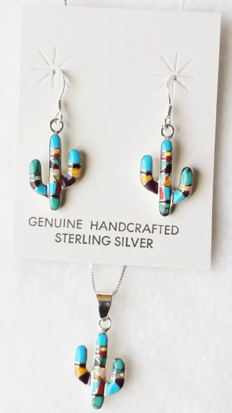 "Sterling silver multi color inlay with opal cactus dangle earrings and 18"" sterling silver box chain necklace set. S112"