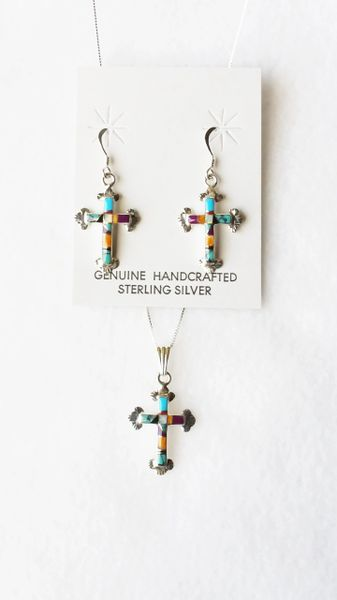 """Sterling silver multi color inlay cross with opal center dangle earrings and 18"""" sterling silver box chain necklace set. S113"""