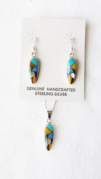 """Sterling silver multi color inlay corn cob shape dangle earrings and 18"""" sterling silver box chain necklace set. S115"""