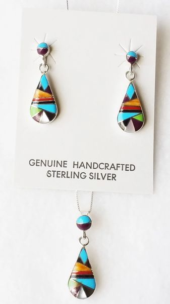 """Sterling silver multi color inlay raindrop with inlay spot post earrings and 18"""" sterling silver box chain necklace set. S116"""