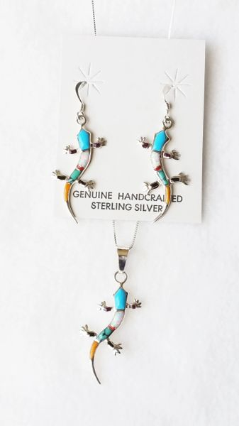 """Sterling silver multi color inlay large lizard dangle earrings and 18"""" sterling silver box chain necklace set. S117"""