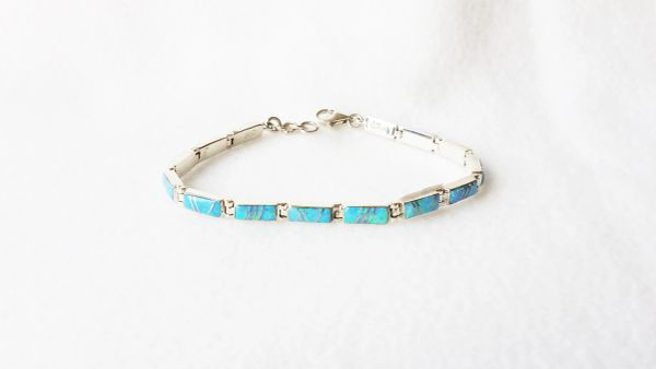 "Sterling silver blue opal inlay 8.25"" mini link bracelet. B004"