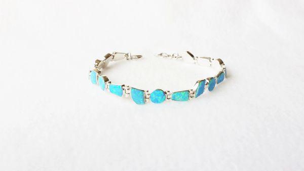 """Sterling silver blue opal 8"""" multi shape link bracelet. B009"""