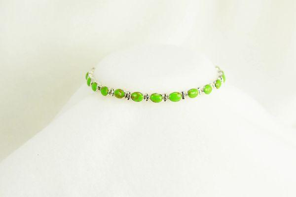 "Sterling silver gaspeite inlay oval 7.5 "" link bracelet. B012"