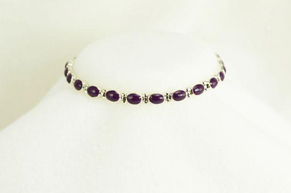 "Sterling silver sugilite inlay oval 7.5 "" link bracelet.  B013"