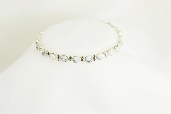 "Sterling silver howlite inlay oval 7.25 "" link bracelet.  B011"