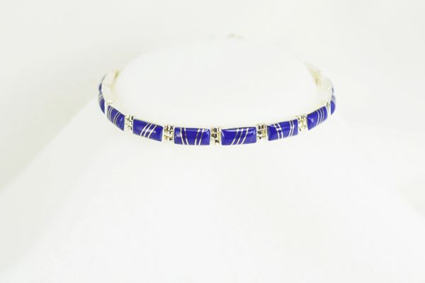 "Sterling silver lapis inlay rectangle 7.5"" link bracelet. B014"