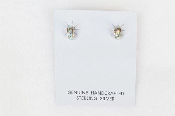 Sterling silver opal post earrings (E005)
