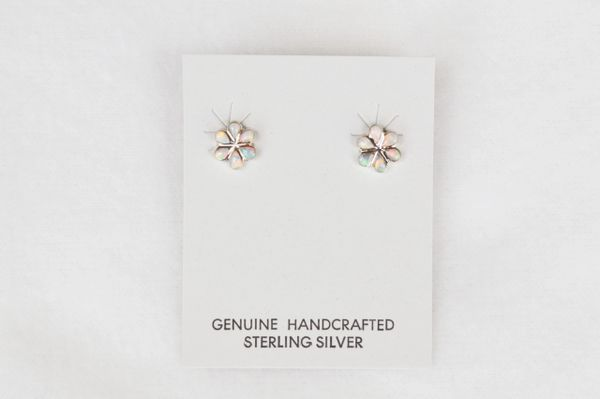 Sterling silver opal flower post earrings (E019)