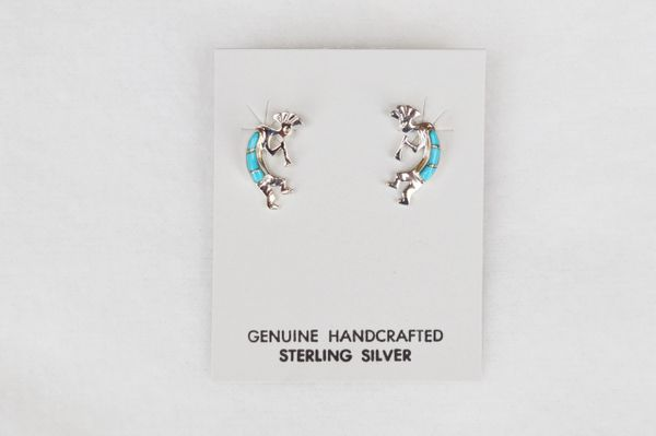 Sterling silver turquoise inlay kokopelli post earrings. (E022)