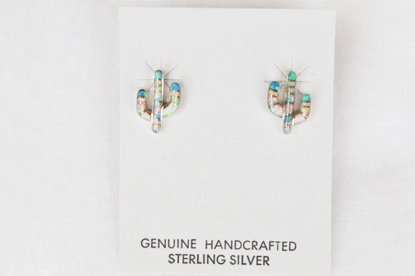 Sterling silver white, pink and blue opal inlay cactus post earrings. (E026)
