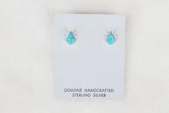 Sterling silver turquoise teardrop post earrings. (E028)
