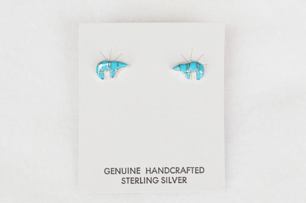 Sterling silver turquoise inlay spirit bear post earrings. (E029)