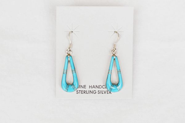Sterling silver turquoise inlay teardrop dangle earrings. (E035)