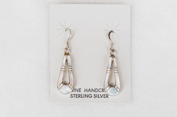 Sterling silver with pink muscle shell and mother of pearl inlay teardrop dangle earrings. (E037)