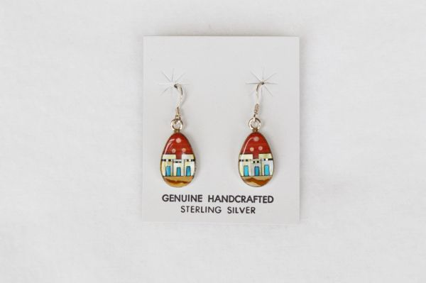Sterling silver multi color/coral background adobe dangle earrings. (E038)