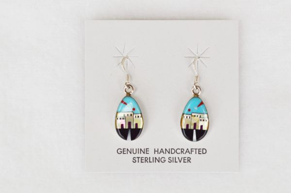 Sterling silver multi color/turquoise background adobe dangle earrings. (E039)