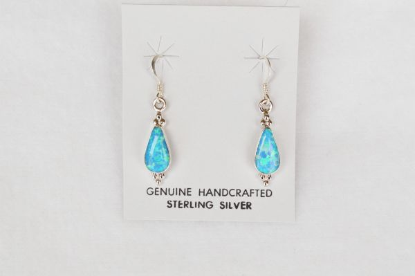 Sterling silver blue opal teardrop dangle earrings. E101