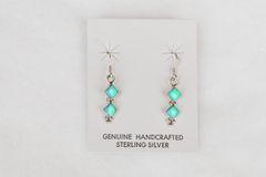Sterling silver blue opal double diamond dangle earrings. E102