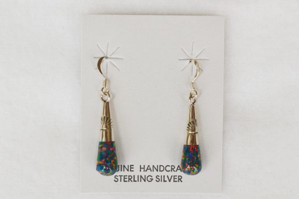 Sterling silver black opal drop dangle earrings. E106
