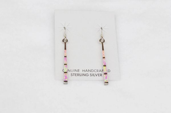 Sterling silver inlay pink opal stick earrings. E109