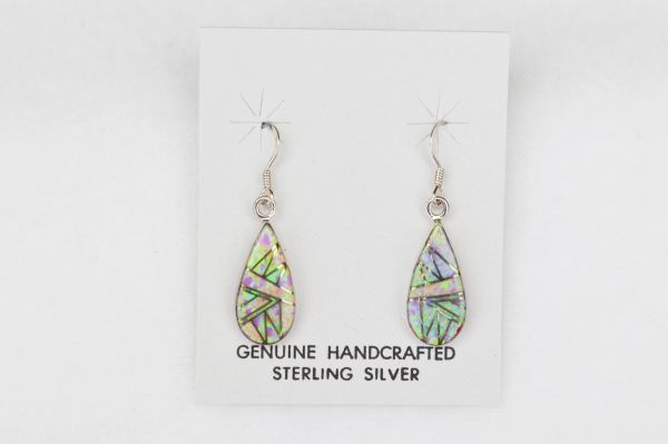 Sterling silver pink opal inlay large teardrop dangle earrings. E114