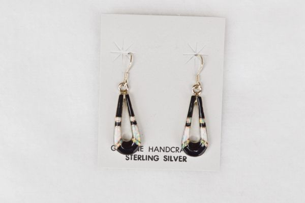 Sterling silver black onyx/white opal inlay teardrop dangle earrings. E117