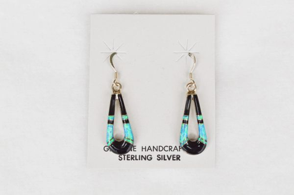 Sterling silver black onyx/blue opal inlay hollow teardrop dangle earrings. E119