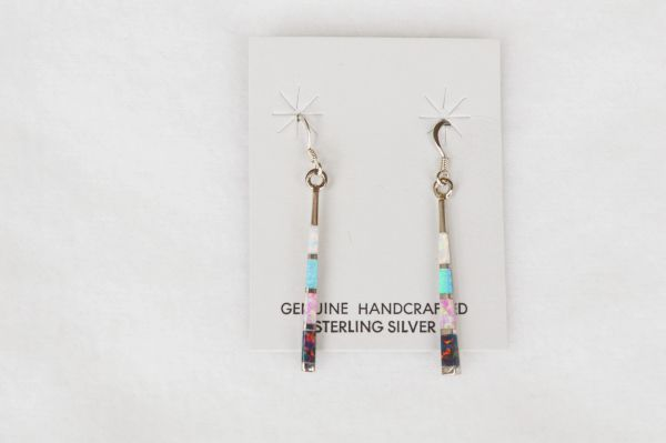 Sterling silver white opal, pink opal, blue opal and black opal inlay stick earrings. E121