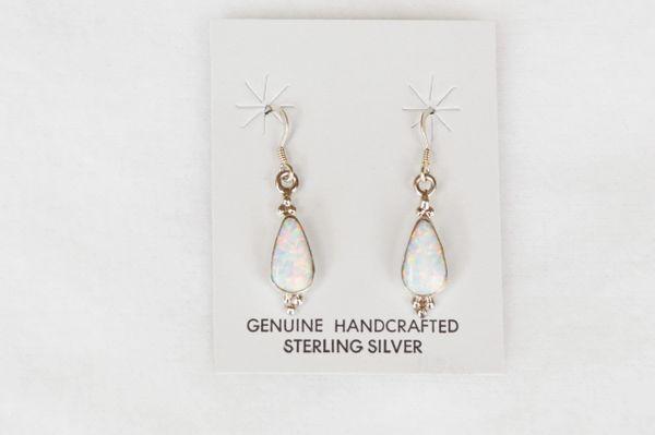 Sterling silver white opal teardrop dangle earrings. E125