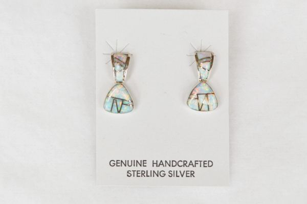 Sterling silver white opal inlay pick shaped post earrings. E126