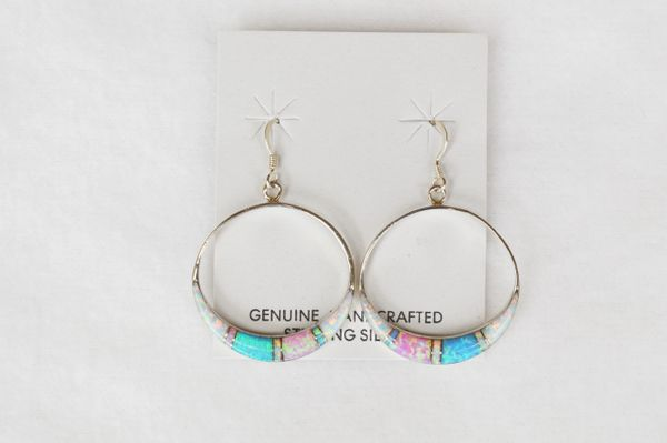 Sterling silver white, blue and pink opal hoop dangle earrings. E129