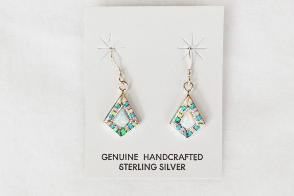 Sterling silver pink, blue and white opal inlay diamond shape dangle earrings. E131