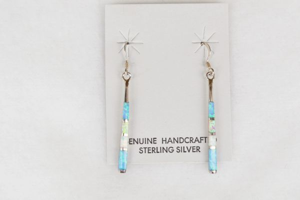 Sterling silver blue, pink and white opal stick dangle earrings. E136