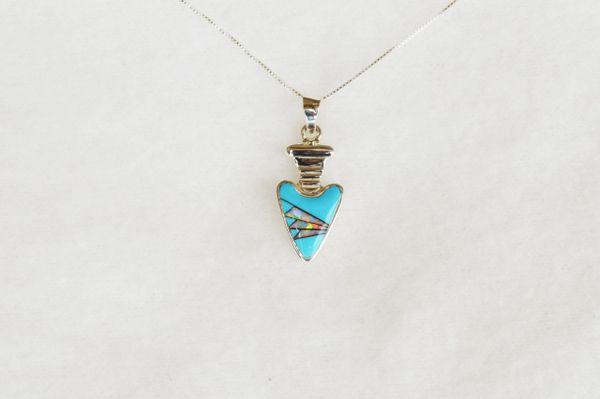 "Sterling silver turquoise and opal inlay arrowhead pendant with 18"" sterling silver box chain. N002"