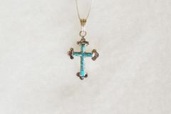 "Sterling silver turquoise inlay cross pendant with sterling silver 18"" box chain. N005"