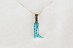 "Sterling silver turquoise cowboy boot pendant with sterling silver 18"" box chain. N007"
