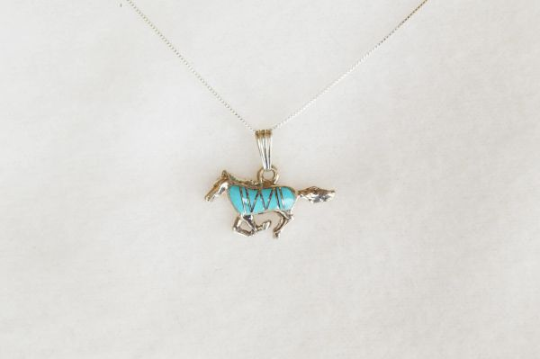 "Sterling silver turquoise mustang horse pendant with sterling silver 18"" box chain. N008"