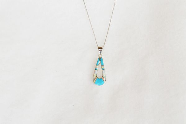 "Sterling silver turquoise and white opal hollow teardrop pendant with sterling silver 18"" box chain. N009"