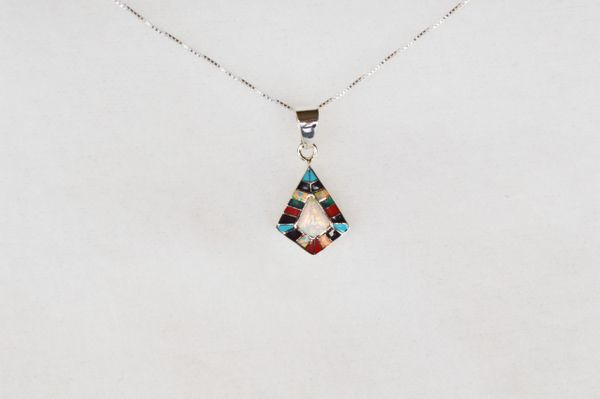 "Sterling silver multi color inlay diamond with opal center pendant and sterling silver 18"" box chain. N012"