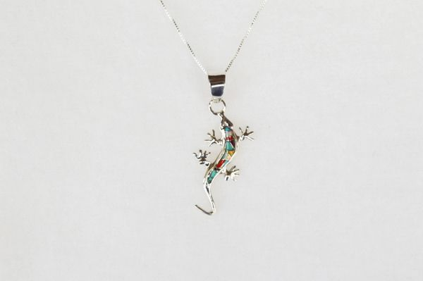 "Sterling silver multi color inlay lizard pendant with sterling silver 18"" box chain. N013"