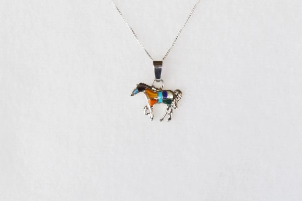 "Sterling silver multi color horse inlay pendant with sterling silver 18"" box chain. N019"