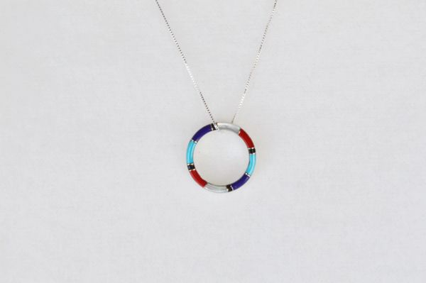 "Sterling silver multi color inlay hoop pendant with sterling silver 18"" box chain. N020"