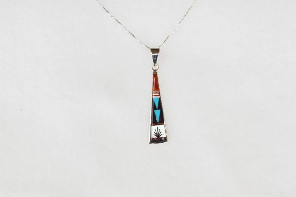 "Sterling silver multi color inlay triangle tower pendant with sterling silver 18"" box chain. N021"