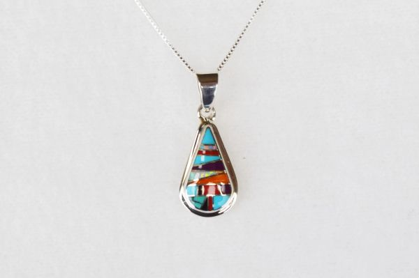"Sterling silver multi color inlay raindrop pendant with sterling silver 18"" box chain. N028"