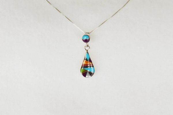 "Sterling silver multi color inlay raindrop with spot on bale pendant and sterling silver 18"" box chain. N037"