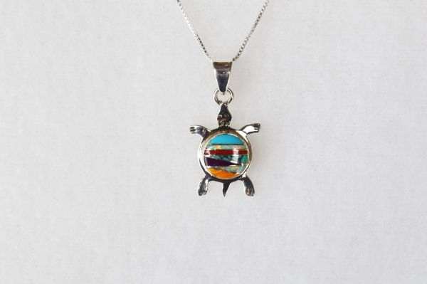 "Sterling silver multi color inlay turtle with opal pendant and sterling silver 18"" box chain. N039"