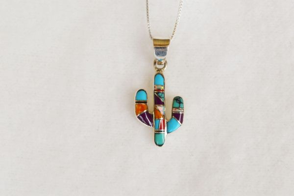 """Sterling silver multi color inlay cactus pendant with sterling silver 18"""" box chain. N041"""