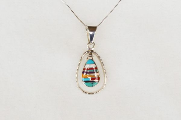"Sterling silver multi color inlay teardrop in hoop pendant with opal and sterling silver 18"" box chain. N042"