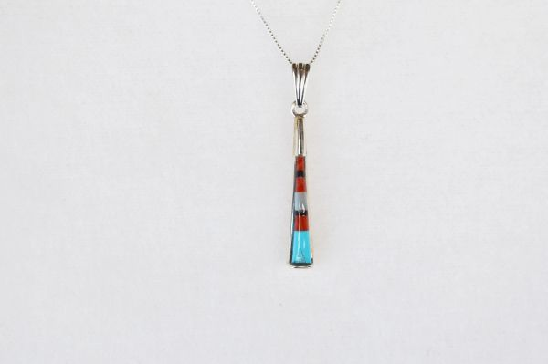 "Sterling silver multi color inlay pillar pendant with sterling silver 18"" box chain. N044"